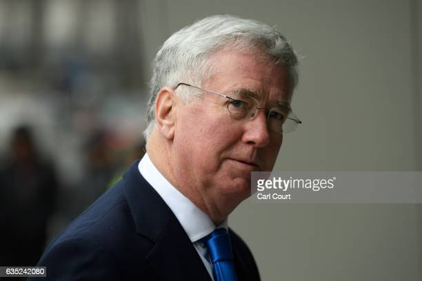 Defence Secretary Michael Fallon arrives to attend the official opening of the National Cyber Security Centre on February 14 2017 in London England...