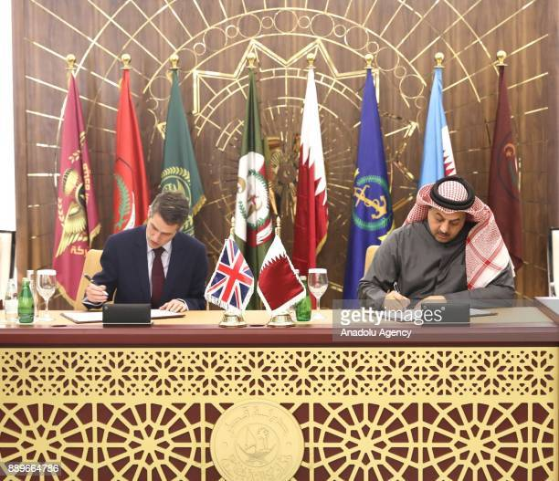 Defence Secretary of United Kingdom Gavin Williamson and Minister of State for Defense of Qatar Khalid bin Mohammad Al Attiyah sign an agreement on...