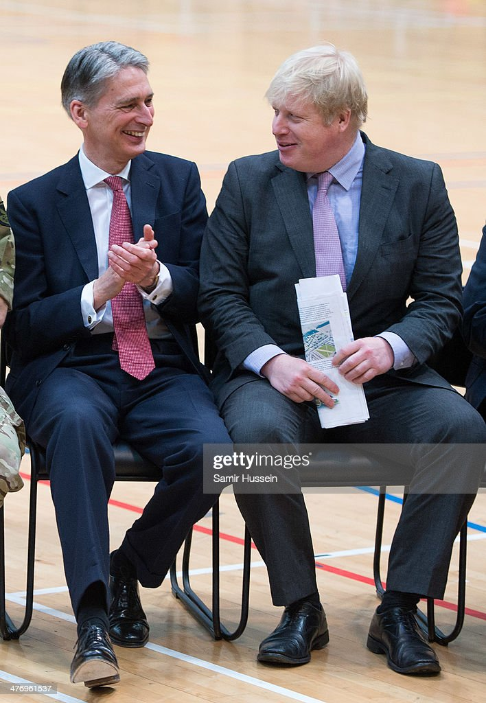 Defence Secretary <a gi-track='captionPersonalityLinkClicked' href=/galleries/search?phrase=Philip+Hammond&family=editorial&specificpeople=2486715 ng-click='$event.stopPropagation()'>Philip Hammond</a> (L) and London Mayor <a gi-track='captionPersonalityLinkClicked' href=/galleries/search?phrase=Boris+Johnson&family=editorial&specificpeople=209016 ng-click='$event.stopPropagation()'>Boris Johnson</a> attend the launch of the Invictus Games For Our Wounded Warriors at the Copper Box on March 6, 2014 in London, England.