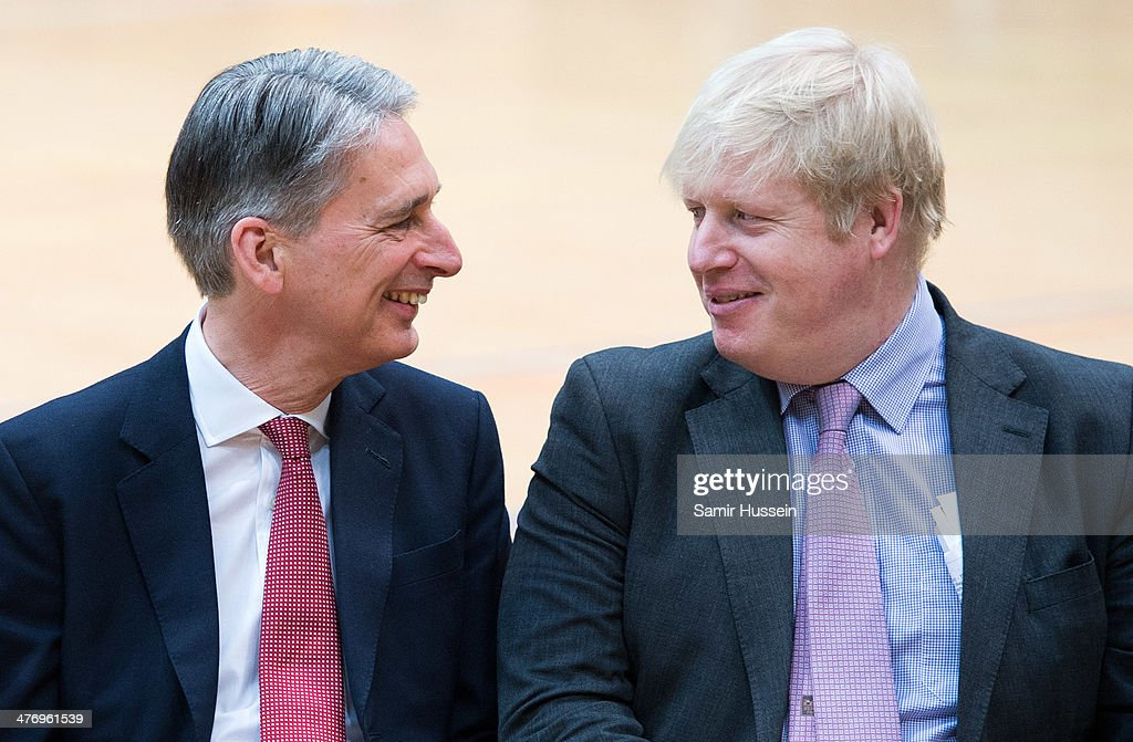 Defence Secretary <a gi-track='captionPersonalityLinkClicked' href=/galleries/search?phrase=Philip+Hammond&family=editorial&specificpeople=2486715 ng-click='$event.stopPropagation()'>Philip Hammond</a> and London Mayor <a gi-track='captionPersonalityLinkClicked' href=/galleries/search?phrase=Boris+Johnson&family=editorial&specificpeople=209016 ng-click='$event.stopPropagation()'>Boris Johnson</a> attend the launch of the Invictus Games For Our Wounded Warriors at the Copper Box on March 6, 2014 in London, England.