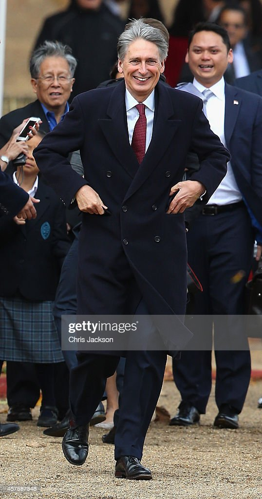 Defence Secretary Philip Hammond during the official welcome for the President of Singapore Tony Tan Keng Yam (not seen) at Horseguards on October 21, 2014 in London, England.