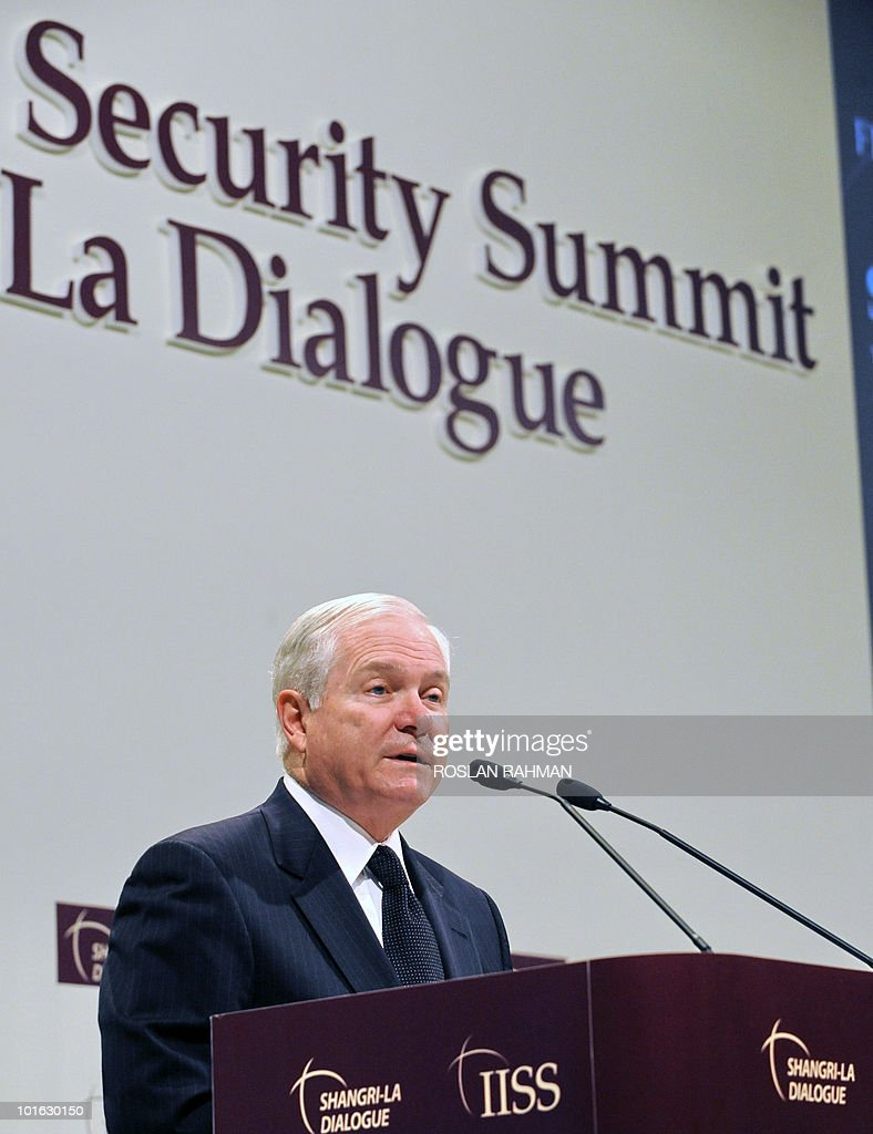 US Defence Secretary Robert Gates delivers his speech during the Asia-Pacific security forum in Singapore on June 5, 2010. The United States is weighing fresh steps to hold North Korea to account after the sinking of a South Korean warship, US Defense Secretary Robert Gates said .