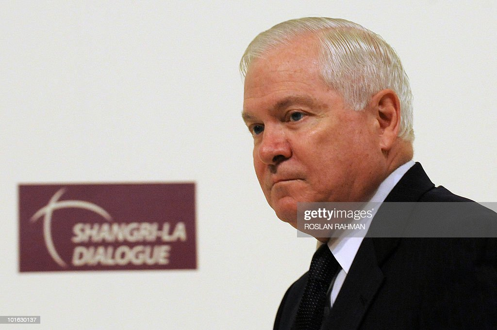 US Defence Secretary Robert Gates walks to the podium to deliver his speech during the Asia-Pacific security forum in Singapore on June 5, 2010. The United States is weighing fresh steps to hold North Korea to account after the sinking of a South Korean warship, US Defense Secretary Robert Gates said .