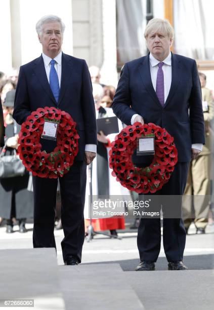 Defence Secretary Sir Michael Fallon and Foreign Secretary Boris Johnson prepare to lay wreaths at the Cenotaph in London during Anzac Day...