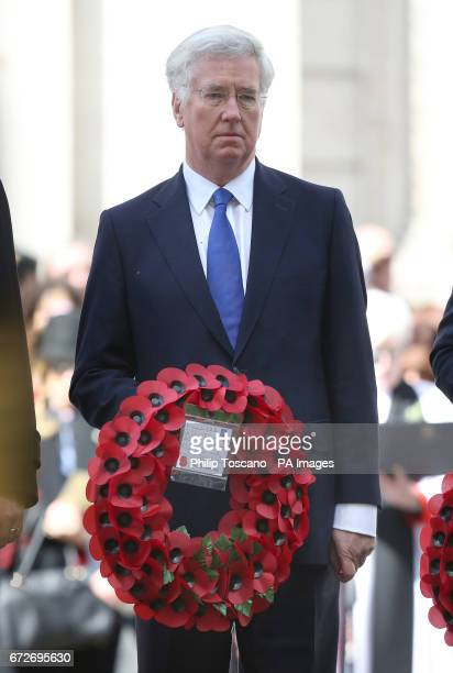 Defence Secretary Sir Michael Fallon prepares to lay wreaths at the Cenotaph in London during Anzac Day commemorations marking the anniversary of the...