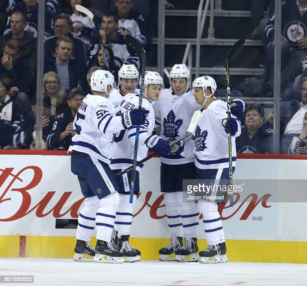 Defenceman Andreas Borgman forward Patrick Marleau forward William Nylander forward Auston Matthews and defenceman Connor Carrick of the Toronto...