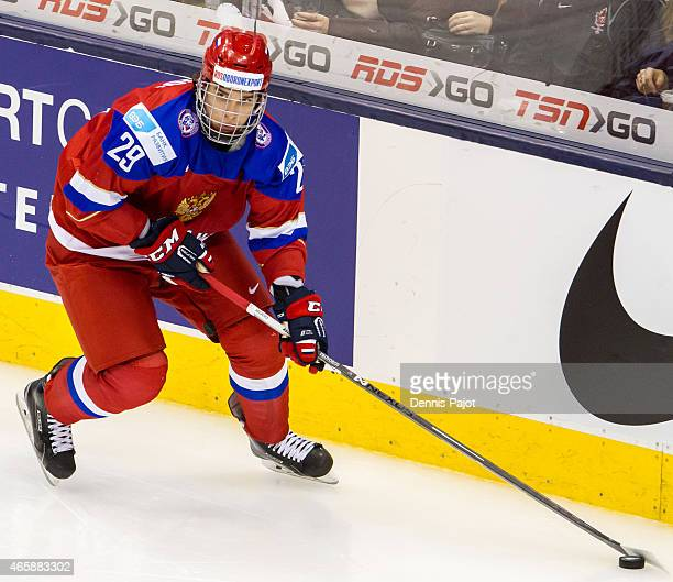 Defenceman Ivan Provorov of Russia moves the puck against Sweden during the 2015 IIHF World Junior Championship on January 04 2015 at the Air Canada...