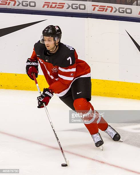 Defenceman Josh Morrissey of Canada moves the puck against Denmark during the 2015 IIHF World Junior Championship on January 02 2015 at the Air...