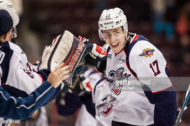 Defenceman Logan Stanley of the Windsor Spitfires celebrates his goal against the Sarnia Sting on December 28 2015 at the WFCU Centre in Windsor...