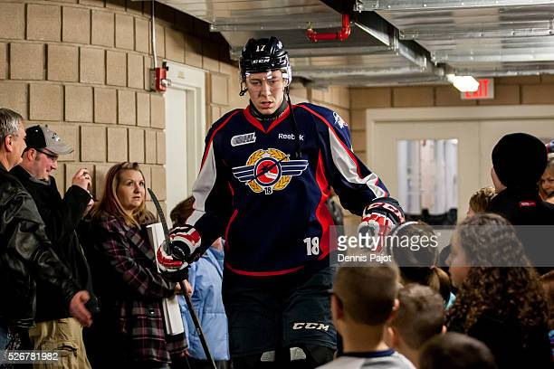 Defenceman Logan Stanley of the Windsor Spitfires prepares for a game against the Sault Ste Marie Greyhounds on February 18 2016 at the WFCU Centre...
