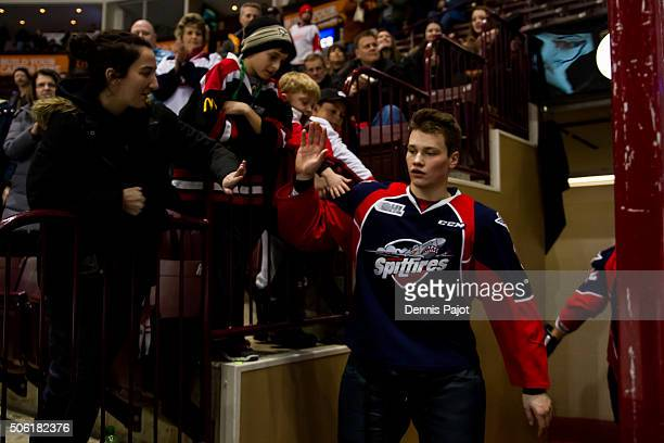 Defenceman Mikhail Sergachev of the Windsor Spitfires celebrates after being awarded 2nd star player of the game after a 53 win against the Flint...