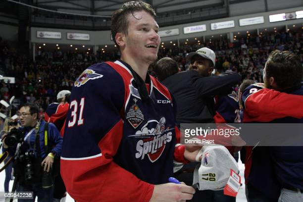 Defenceman Mikhail Sergachev of the Windsor Spitfires celebrates winning the championship game of the Mastercard Memorial Cup against the Erie Otters...