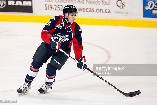 Defenceman Mikhail Sergachev of the Windsor Spitfires moves the puck against the Oshawa Generals on January 14 2016 at the WFCU Centre in Windsor...