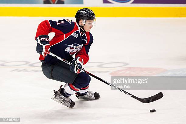 Defenceman Mikhail Sergachev of the Windsor Spitfires moves the puck against the Barrie Colts on February 25 2016 at the WFCU Centre in Windsor...