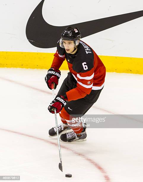 Defenceman Shea Theodore of Canada moves the puck against Denmark during the 2015 IIHF World Junior Championship on January 02 2015 at the Air Canada...