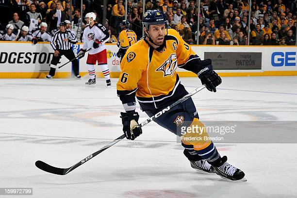 Defenceman Shea Weber of the Nashville Predators plays against the Columbus Blue Jackets at Bridgestone Arena on January 19 2013 in Nashville...