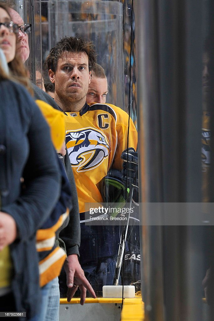 Defenceman Shea Weber #6 of the Nashville Predators stands during the national anthem prior to a game against the Calgary Flames at the Bridgestone Arena on April 23, 2013 in Nashville, Tennessee.