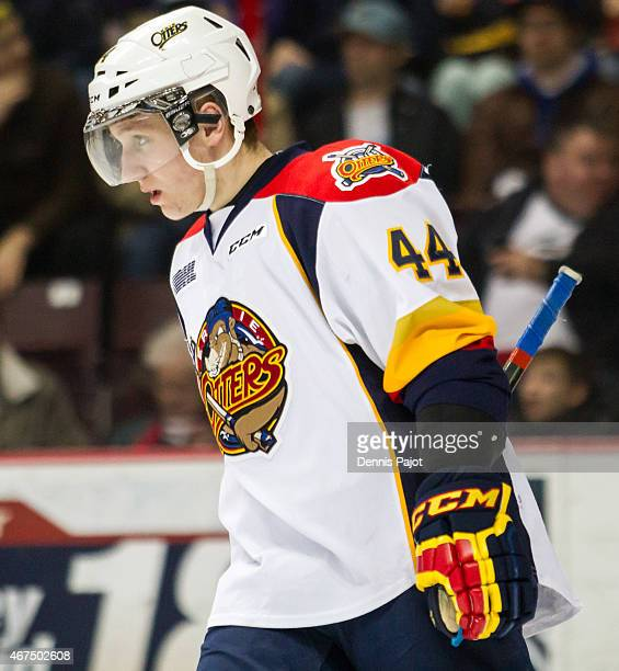 Defenceman Travis Dermott of the Erie Otters skates against the Windsor Spitfires on March 19 2015 at the WFCU Centre in Windsor Ontario Canada