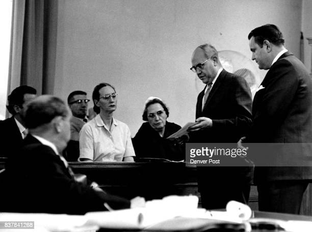 Defendant and Attorney Explain Police Log Sheet to the Jury Bobbie G Whaley right and Anthony F Zarlengo explain activities on Dec 20 1959 Credit...