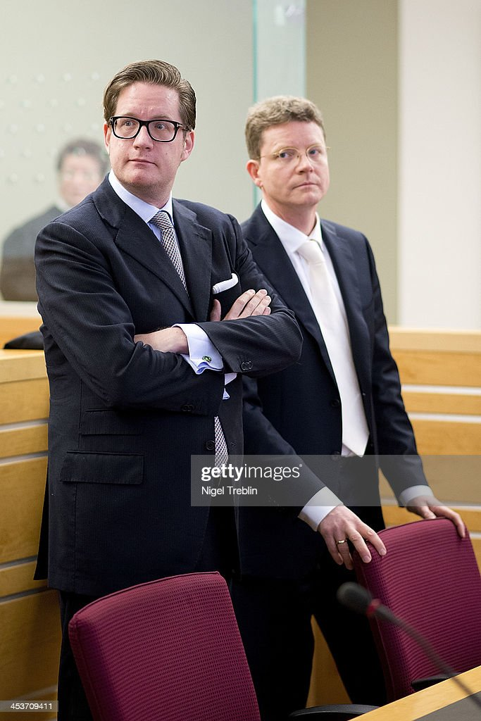Defendant David Groenewold and his advocate Friedrich Schultehinrichs wait in the courtroom at the Landgericht Hannover courthouse on December 5, 2013 in Hanover, Germany. Wulff is accused of allowing film producer David Groenewold to pay for a Munich hotel booking while Wulff was governor of Lower Saxony in exchange for Wulff's support in promoting one of Groenewold's films. Wulff is the first post-World War II German president to face a court trial.