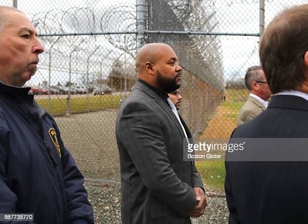 Defendant Derek Howard walks to the entrance of the Bridgewater State Hospital in Bridgewater MA on Dec 6 2017 as a visit to the facility takes...