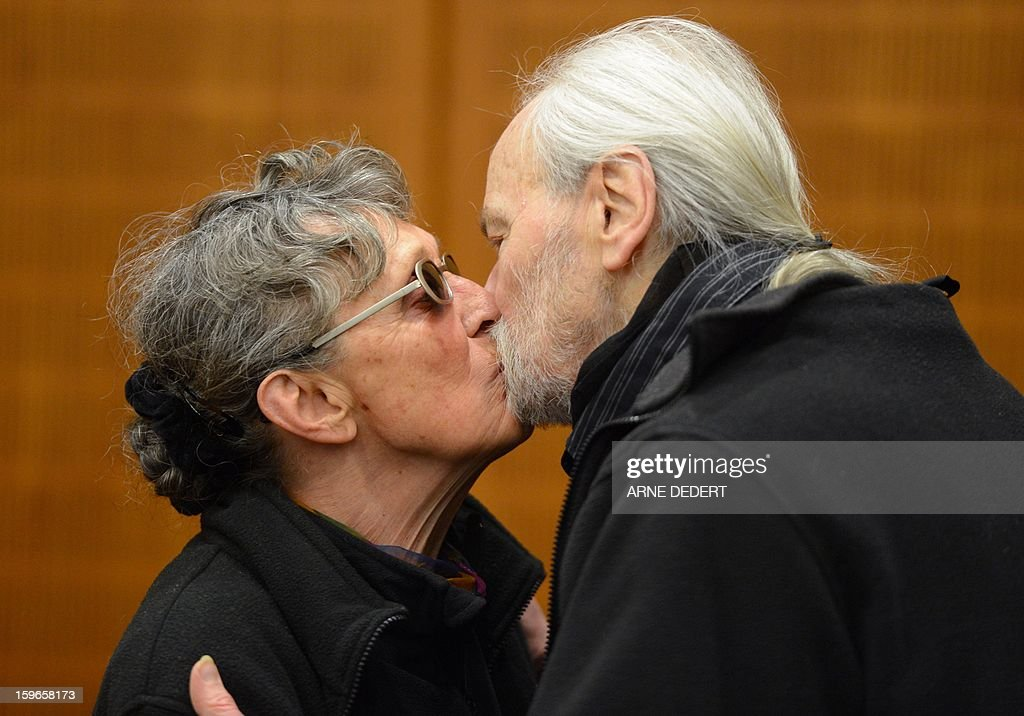 Defendant Sonja Suder, who allegedly was involved in the deadly 1975 attack on an OPEC summit, and her partner Christian Gauger appear at the Regional Court in Frankfurt Main, on January 18, 2013. Sonja Suder is suspected of belonging to the Revolutionary Cells group in the 1970s and supplying weapons and explosives to a commando led by militant mastermind Carlos the Jackal for a hostage-taking at the meeting in Vienna. Suder's partner is also in the dock, accused of taking part with her in several explosives or arson attacks in German cities. AFP PHOTO / ARNE DEDERT /GERMANY OUT