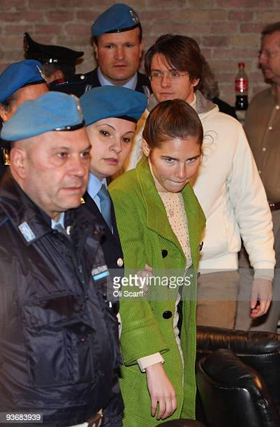 Defendants Amanda Knox and Raffaele Sollecito arrive at the Meredith Kercher trial for the closing arguments on December 3 2009 in Perugia Italy...