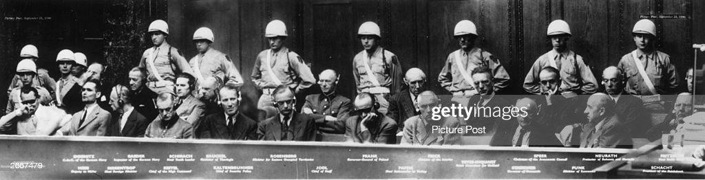 Defendants in court during the Nuremberg Trials Goering Doenitz Hess Raeder Ribbentrop Schirach Keitel Sauckel Kaltenbrunner Rosenberg Jodl Frank von...