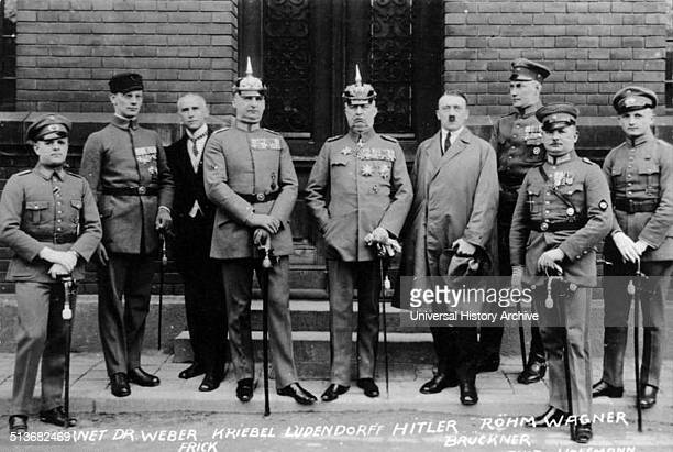 Defendants in the Beer Hall Putsch Trial From left to right Pernet Weber Frick Kiebel Ludendorff Hitler Bruckner Röhm and Wagner The Putsch was a...