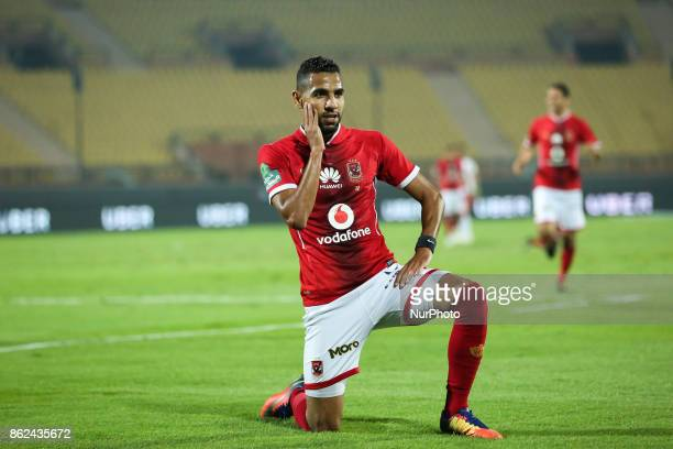 Defender Ahmed Fathi AlAhly celebrates the first goal during the third round of the Egyptian Premier League between Al Ahly and Al Raja at AlSalam...