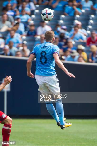 Defender Alexander Ring of New York City FC heads the ball during the match against Chicago Fire at Yankee Stadium on July 22 2017 in New York City...
