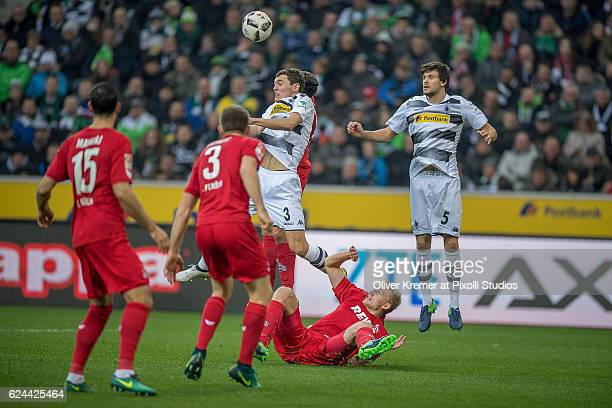 Defender Andreas Christensen of Borussia Moenchengladbach defending a headball against Defense Frederik Sørensen of 1FC Koelnduring the 1 Bundesliga...
