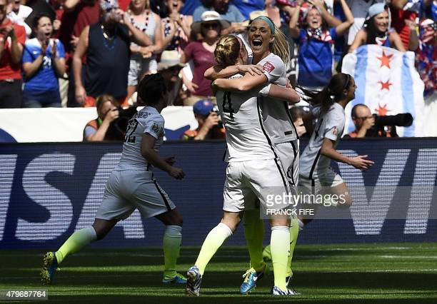 USA defender Becky Sauerbrunn and USA defender Julie Johnston celebrate during the 2015 FIFA Women's World Cup final between the USA and Japan at the...