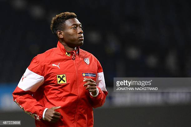 Defender David Alaba of the Austrian national football team attends a training session at Friends Arena in Solna near Stockholm on September 7 2015...