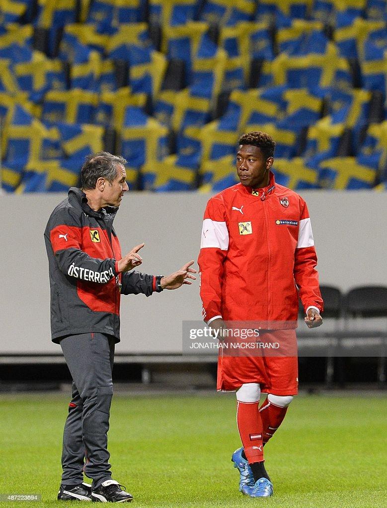 Defender David Alaba R of the Austrian national football team
