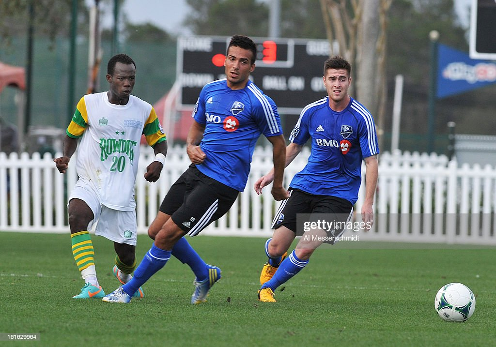 Defender Dennis Iapichino #17 of the Montreal Impact runs upfield against the Tampa Bay Rowdies February 13, 2013 in the second round of the Disney Pro Soccer Classic in Orlando, Florida.