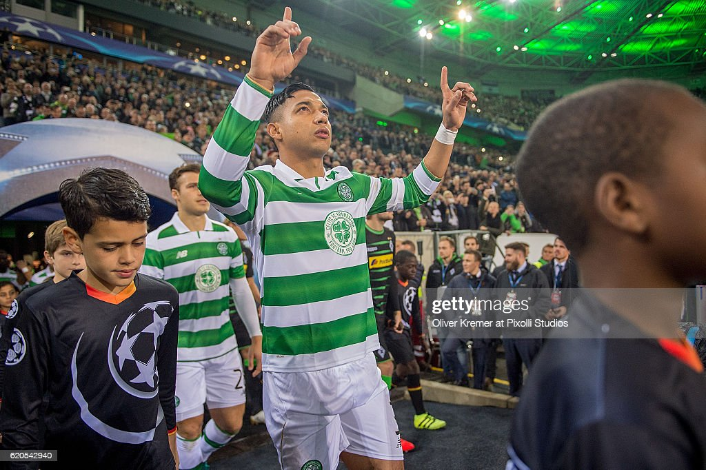 Defender Emilio Izaguirre (3) of Celtic FC Glasgow 1888 entering the field with his fingers pointing towards the sky during the UEFA Champions League group C match between VfL Borussia Moenchengladbach and Celtic FC Glasgow 1888 at the Borussia-Park on November 01, 2016 in Moenchengladbach, Germany.