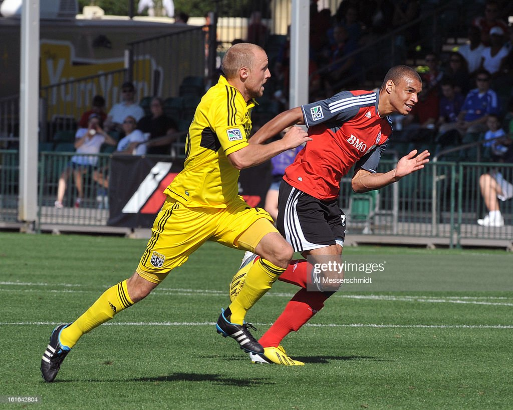Defender Eric Gehrig #16 of the Columbus Crew runs upfield against Toronto FC February 9, 2013 in the first round of the Disney Pro Soccer Classic in Orlando, Florida. Columbus won 1 - 0.