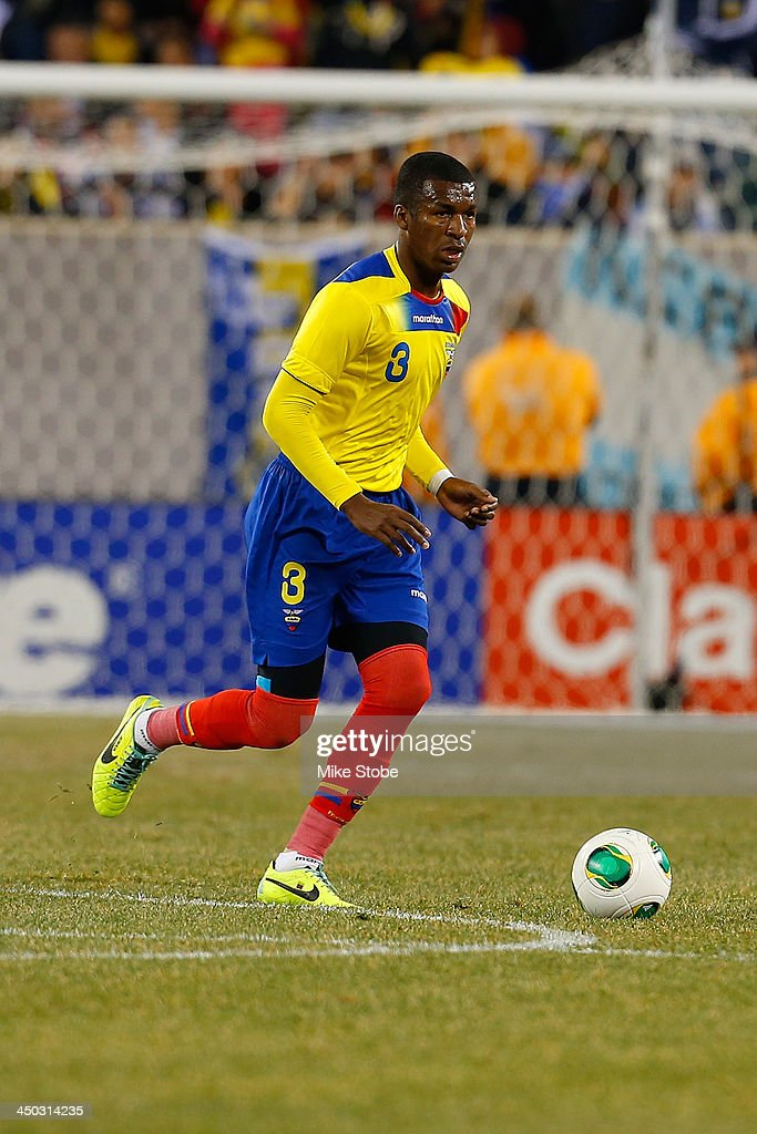 defender Frickson Erazo #3 of Ecuador in action against Argentina during a friendly match at MetLife Stadium on November 15, 2013 in East Rutherford, New Jersey. Ecuador play to Argentina 0-0 tie