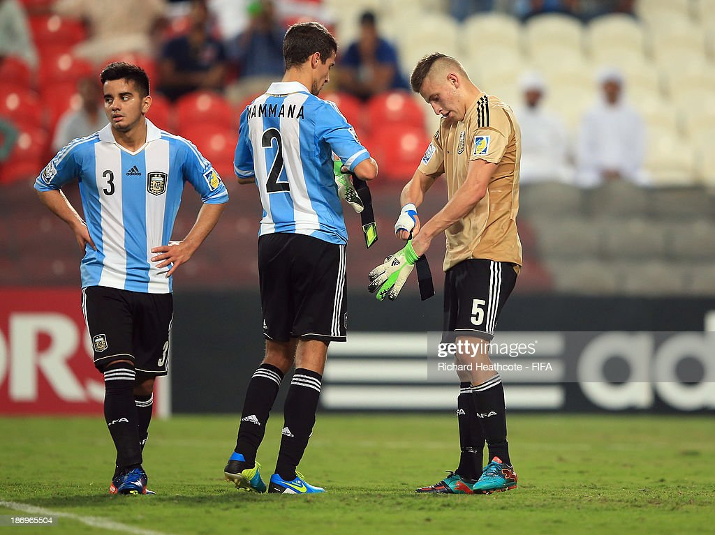 Defender German Ferreyra of Argentina goes in goal after Augusto Batalla is sent off during the FIFA U-17 World Cup UAE 2013 Semi Final match between Argentina and Mexico at the Mohamed Bin Zayed Stadium on November 5, 2013 in Abu Dhabi, United Arab Emirates.