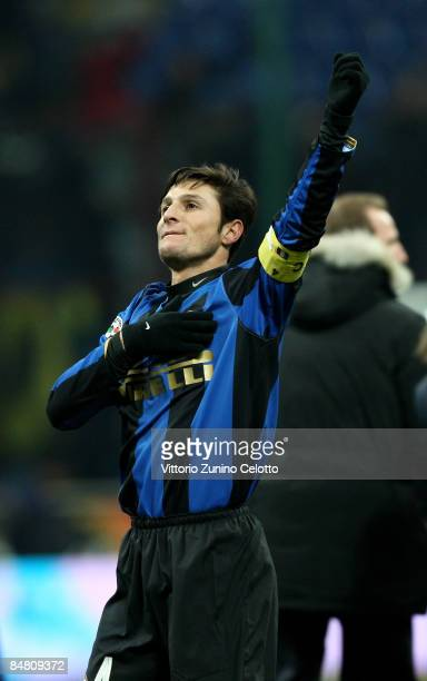 Defender Javier Aldemar Zanetti celebrates after his team won FC Inter Milan v AC Milan Serie A match on February 15 2009 in Milan Italy
