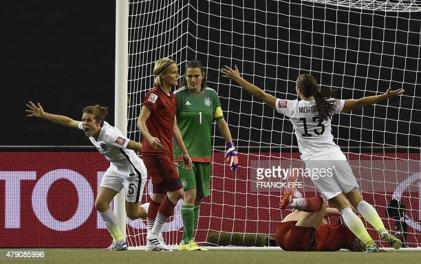 USA defender Kelley O'Hara celebrates her goal against Germany during their 2015 FIFA Women's World Cup semifinal football match at the Olympic...