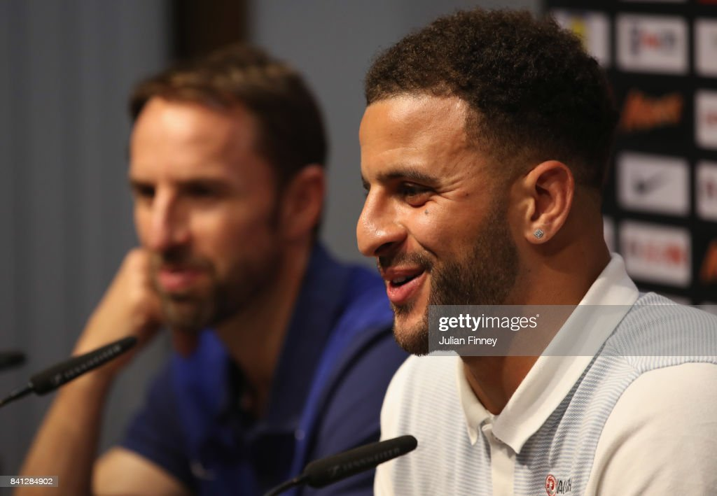 Defender Kyle Walker speaks as Gareth Southgate manager of England looks on during an England press conference on the eve of the World Cup qualifying match against Malta at Ta'Qali National Stadium on August 31, 2017 in Valletta, Malta.