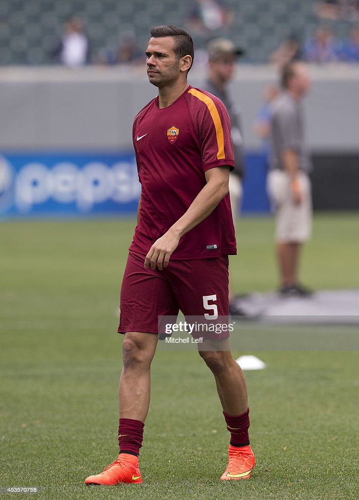 Defender <a gi-track='captionPersonalityLinkClicked' href=/galleries/search?phrase=Leandro+Castan&family=editorial&specificpeople=5891971 ng-click='$event.stopPropagation()'>Leandro Castan</a> #5 of AS Roma participates in the match against FC Internazionale Milano during the International Champions Cup on August 2, 2014 at Lincoln Financial Field in Philadelphia, Pennsylvania.