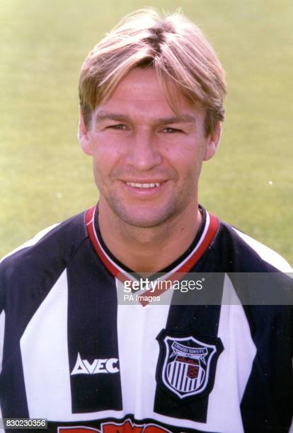 Defender Mark Lever who plays for First Division Grimsby Town FC at Blundell Park Stadium