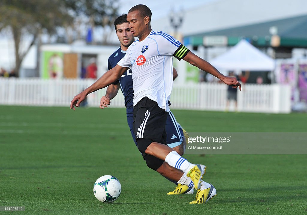 Defender Matteo Ferrari of the Montreal Impact runs upfield against the Sporting Kansas City February 9 2013 in the first round of the Disney Pro...