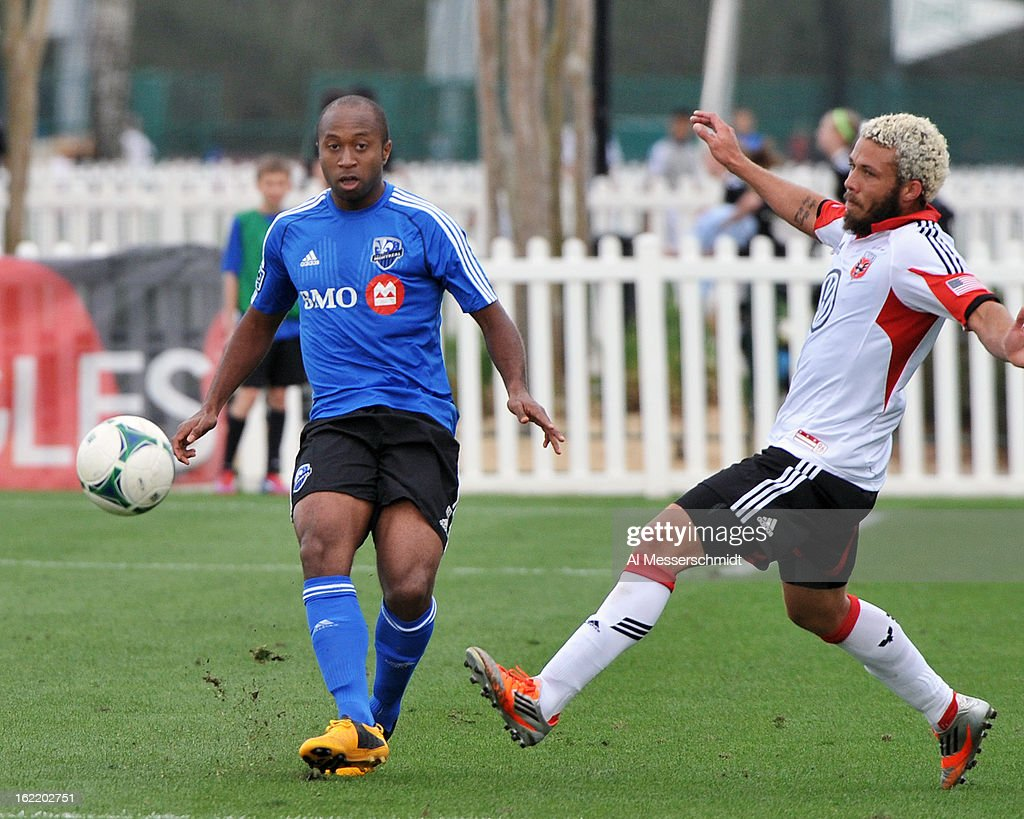 Defender Matteo Ferrari of the Montreal Impact runs upfield against DC United February 16 2013 in the third round of the Disney Pro Soccer Classic in...