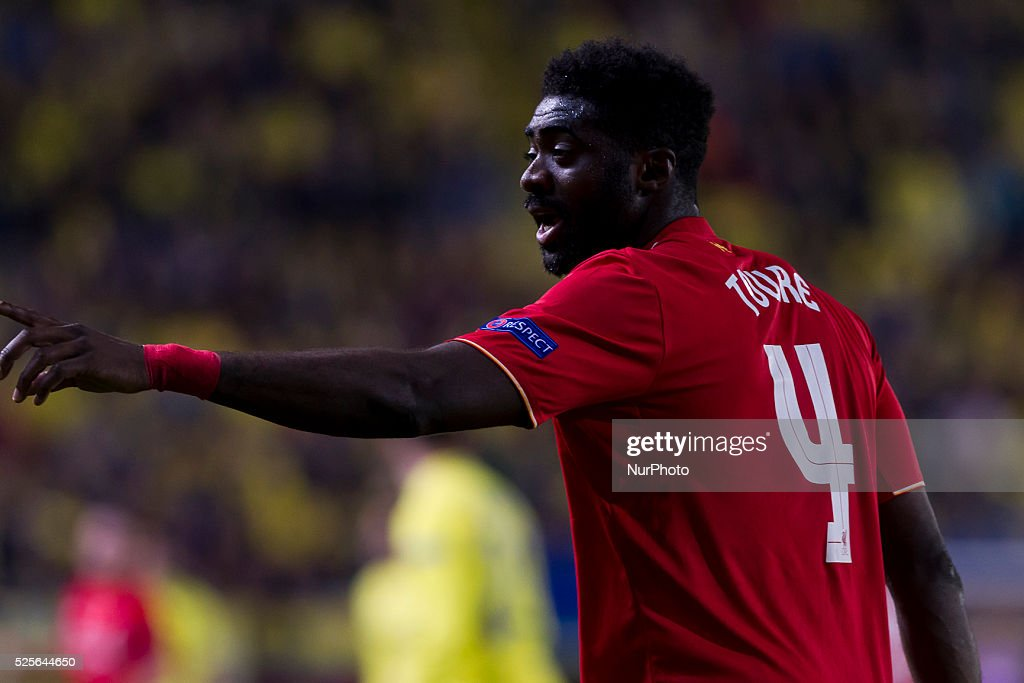 04 Defender of Liverpool FC Kolo Toure during UEFA Europa League semi-final first leg match between Villarreal CF and Liverpool FC at El Madrigal Stadium in Villarreal on April 28, 2016.