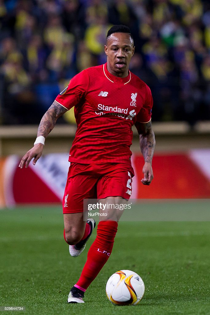 02 Defender of Liverpool FC Nathaniel Clyne during UEFA Europa League semi-final first leg match between Villarreal CF and Liverpool FC at El Madrigal Stadium in Villarreal on April 28, 2016.