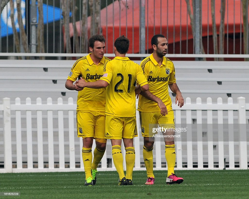 Defender Reed Matte #26 of the Columbus Crew celebrates after a first-half goal against the Philadelphia Union February 13, 2013 in the second round of the Disney Pro Soccer Classic in Orlando, Florida.